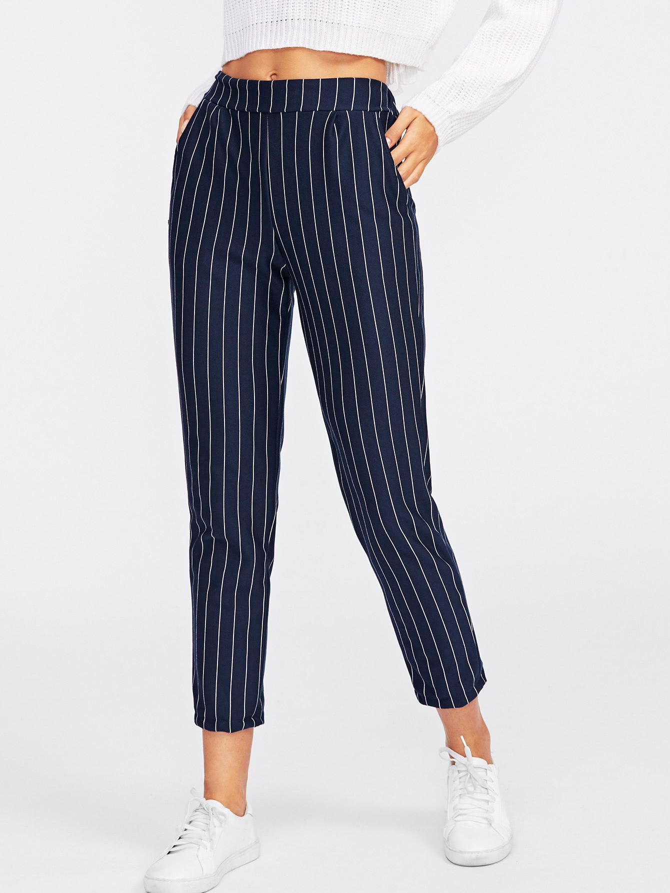 9464c731ce $8.99 Pinstriped Capri Pants Navy -- Women's Summer Casual Style Fashion  Outfit #CasualStyle #StreetStyle