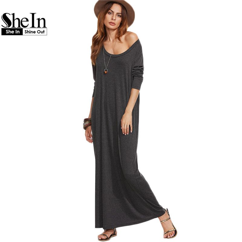 1a56fb612e Find More Dresses Information about SheIn Ladies Casual Long Dress Womens  Clothing Autumn Long Sleeve Maxi Dress Heather Grey Scoop Neck T shirt Dress,High  ...
