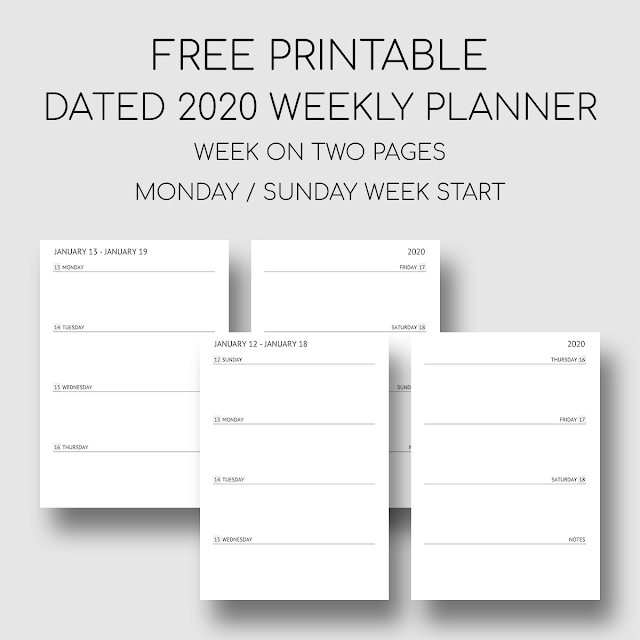 Bobbiprintables Printable Dated 2020 Weekly Planner Week On Two In 2020 Weekly Planner Template Weekly Planner Free Printable Planner Printables Free