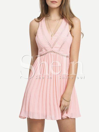 Vestido sin manga cut out plisado -rosa-Spanish SheIn(Sheinside) Más 4367e85f71cb