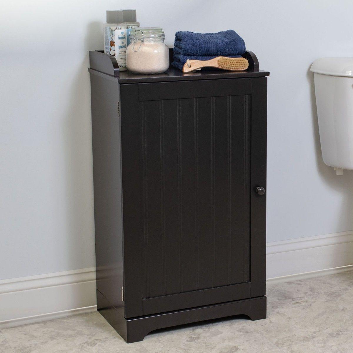 Bennington Country Cottage Espresso Bathroom Floor Storage Cabinet
