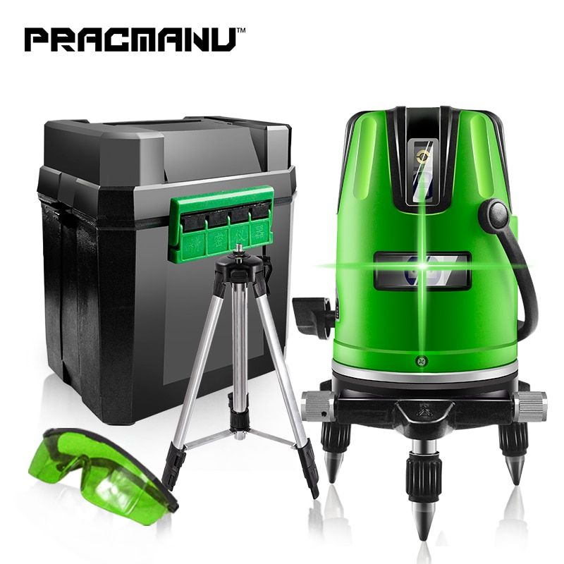 Pracmanu 5 Lines 6 Points Green Red Laser Level Automatic Self Leveling 360 Vertical Amp Horizontal Tilt Degrees Rotary Outdoor Mo Laser Levels Rotary Vertical