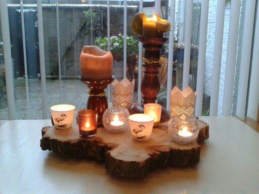 Kaarsenplateau met boomschijf boomschijven pinterest for Boomschijven decoratie