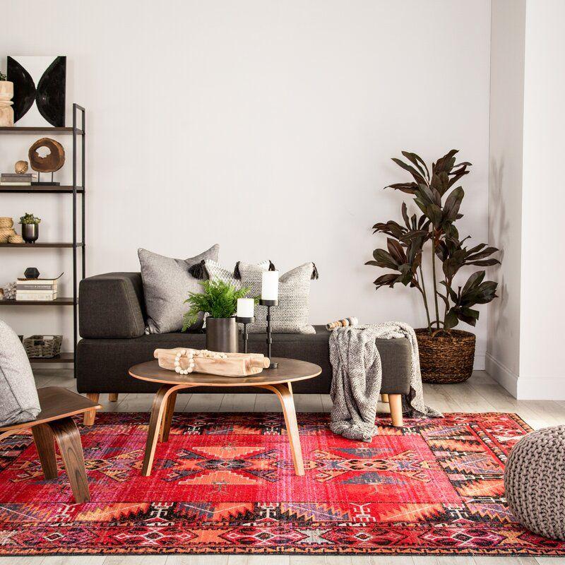 Bewdley Tribal Red Indoor Outdoor Area Rug Reviews Allmodern In 2020 Red Rug Living Room Rugs In Living Room Boho Living Room #red #rug #living #room #ideas