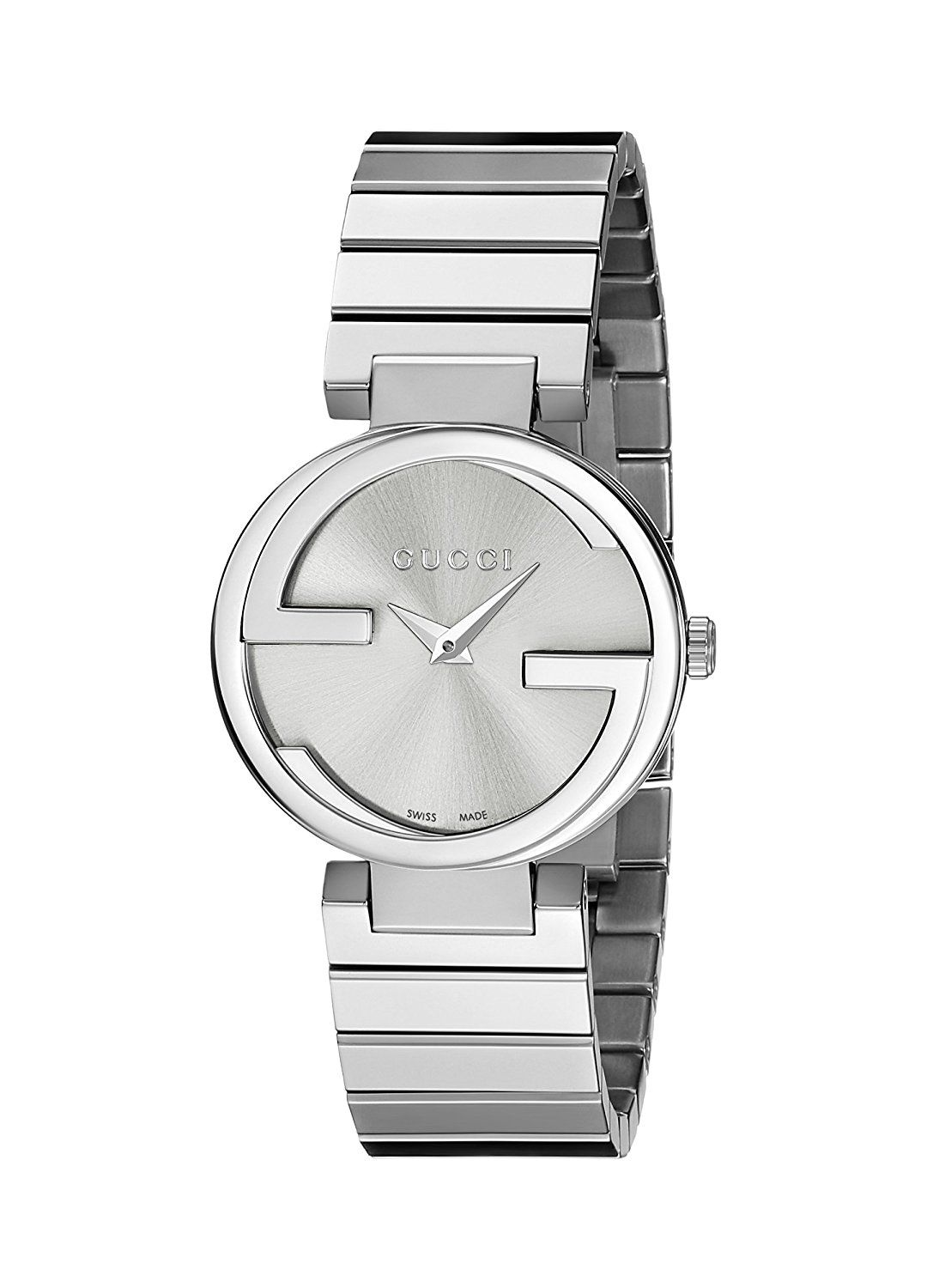 24fe484a515 Gucci Interlocking G Collection Women s Quartz Watch with Silver Dial  Analogue Display and Stainless Steel Bracelet YA133503