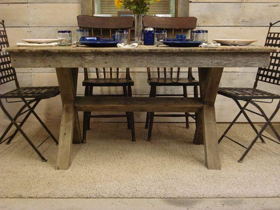 "Farmhouse Trestle Table (60"" x 30"" x 36""H) with Poly ..."