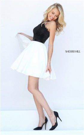 Two Piece Sherri Hill 50386 Black/Ivory Short Halter Homecoming ...
