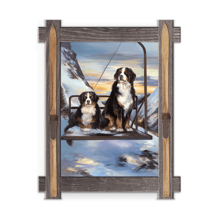 Framed in a rustic-style design, these distressed frames, are the perfect complement to the art they enhance two Bernese Mountain Dogs riding the Chairlift up the mountain. Art by Mason Maloof Designs.