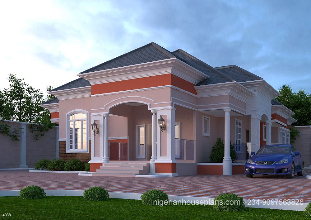 4 Bedroom Bungalow Ref 4038 Nigerianhouseplans Bungalow House Plans Beautiful House Plans Bungalow House Design