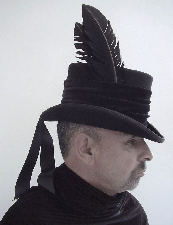 6af8c258c8d083 Raven man's top hat steampunk Victorian by Blackpin on Etsy, £75.00 ...