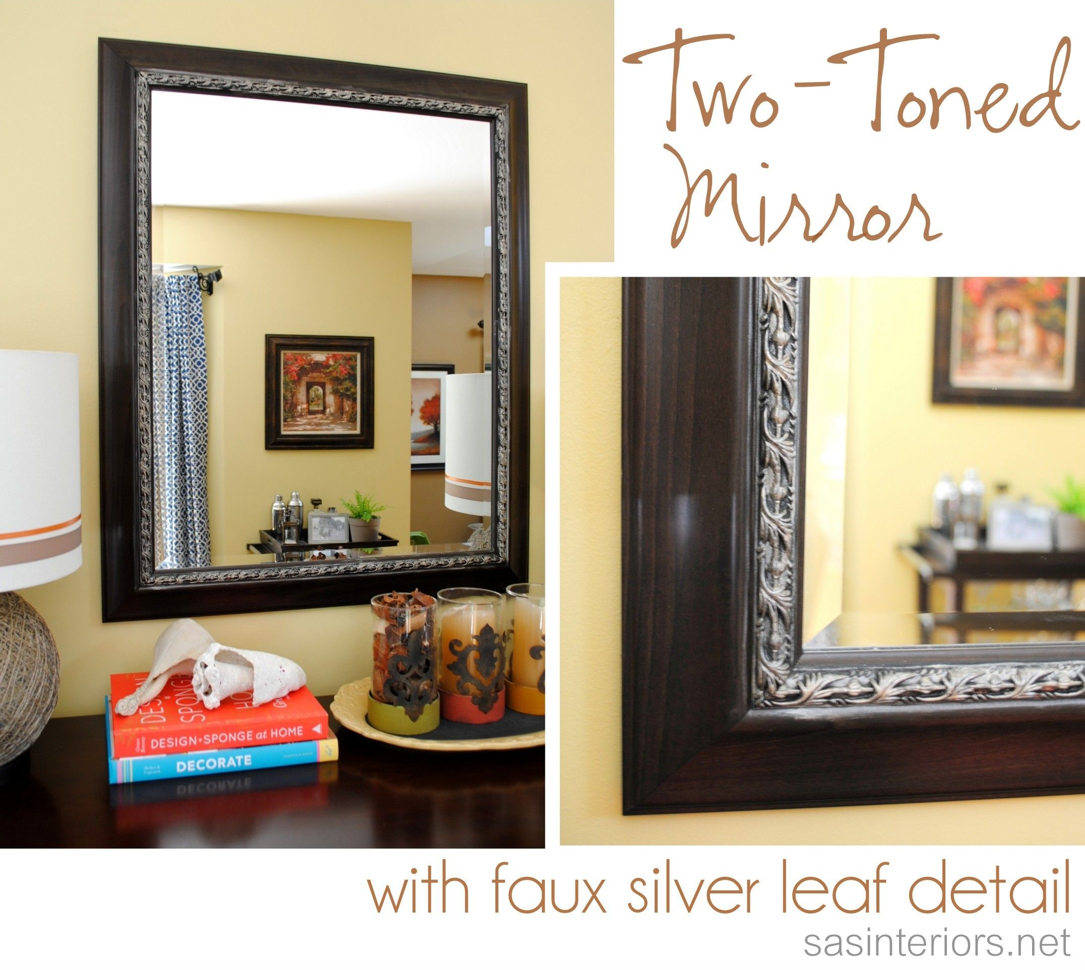 Two Toned Mirror With Faux Silver Leaf Using A Technique With