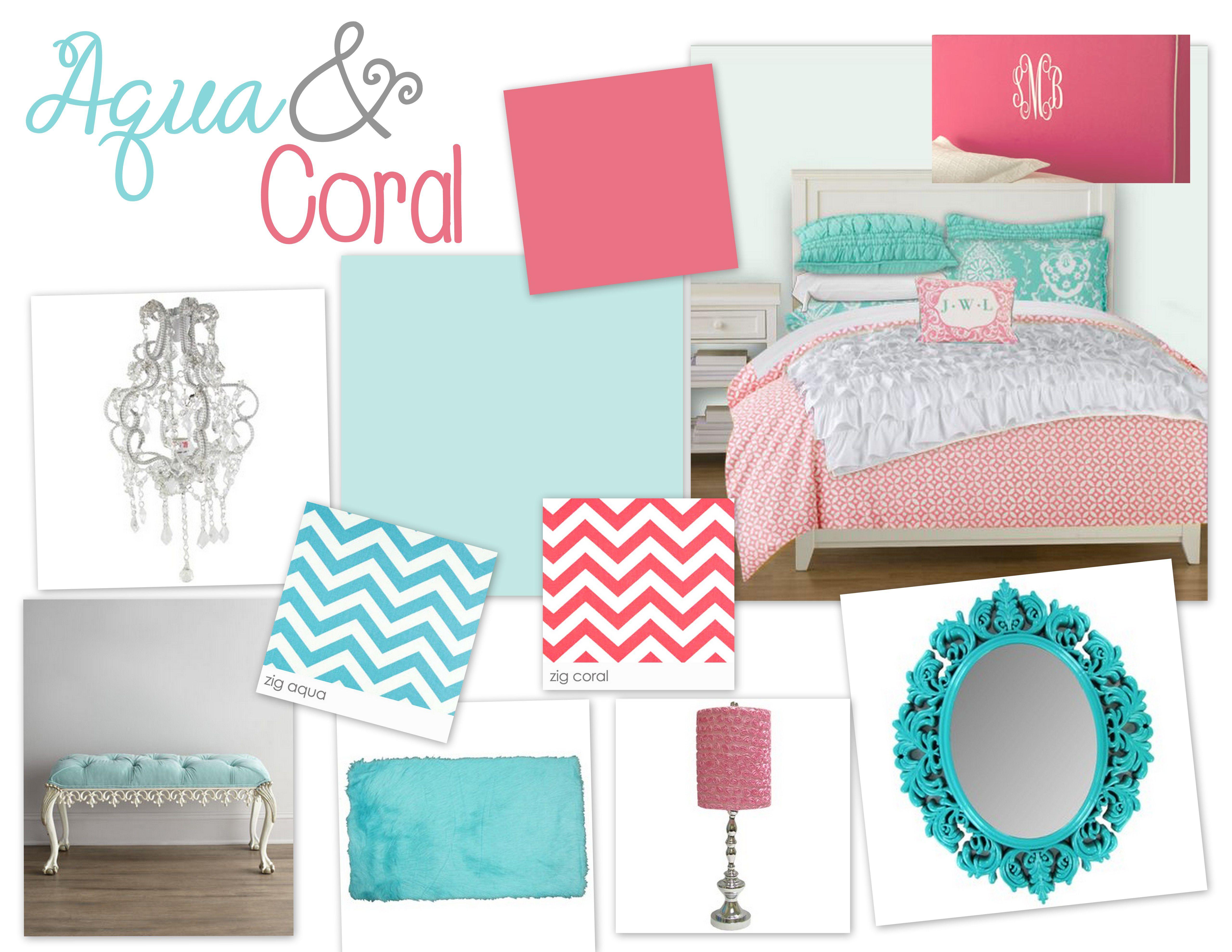 Aqua U0026 Coral Bedroom  Guest Bedroom Color Scheme!! Have The Coral And