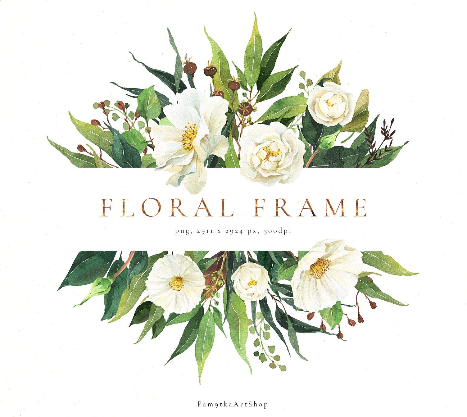 Floral Frame Clipart Watercolor Greenery Frame White Etsy In 2021 Flower Frame Png Floral Watercolor Flower Frame