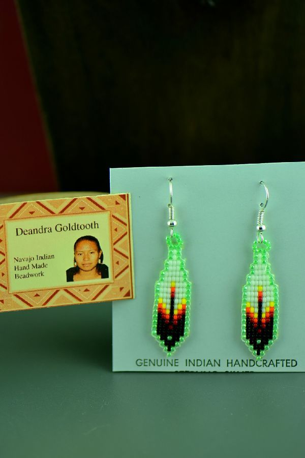 Navajo Sterling Silver Beaded Prayer Feather Earrings By
