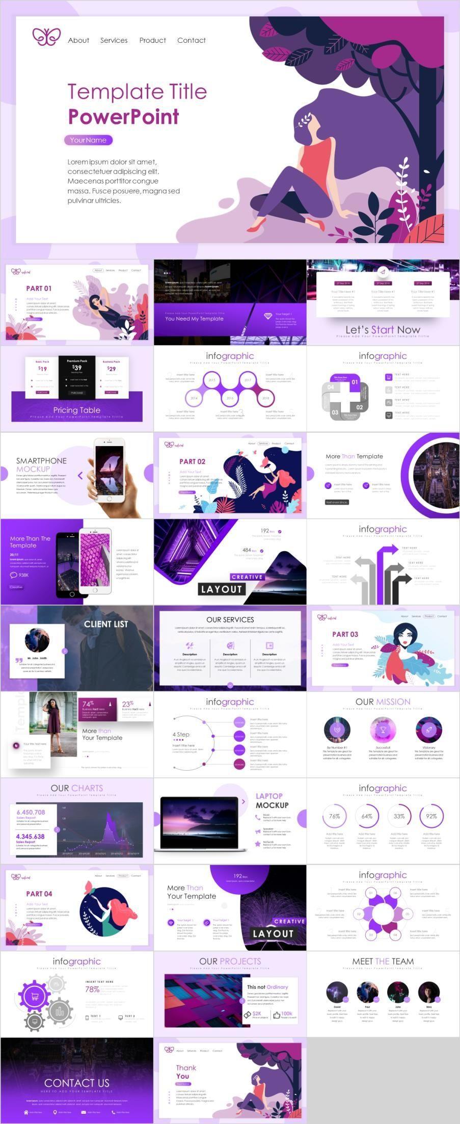 30+ Creative Purple Report PowerPoint template