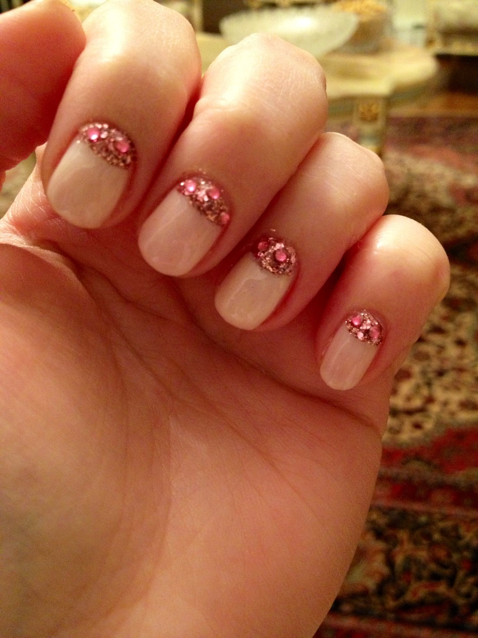 pink moon nails with glitter