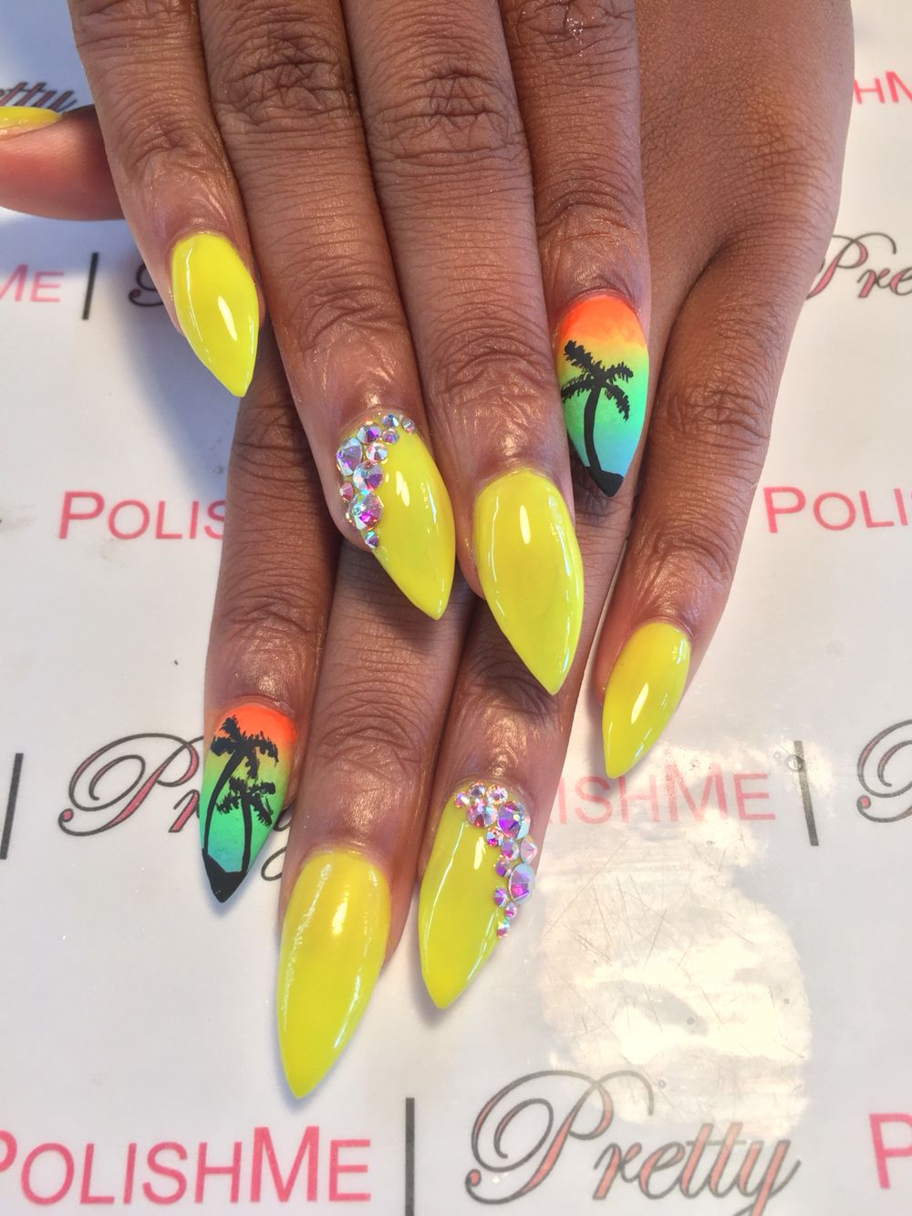 Stiletto Nails With Nail Art Colorful Nails Summernails Palm Trees Bright Colors Nails By