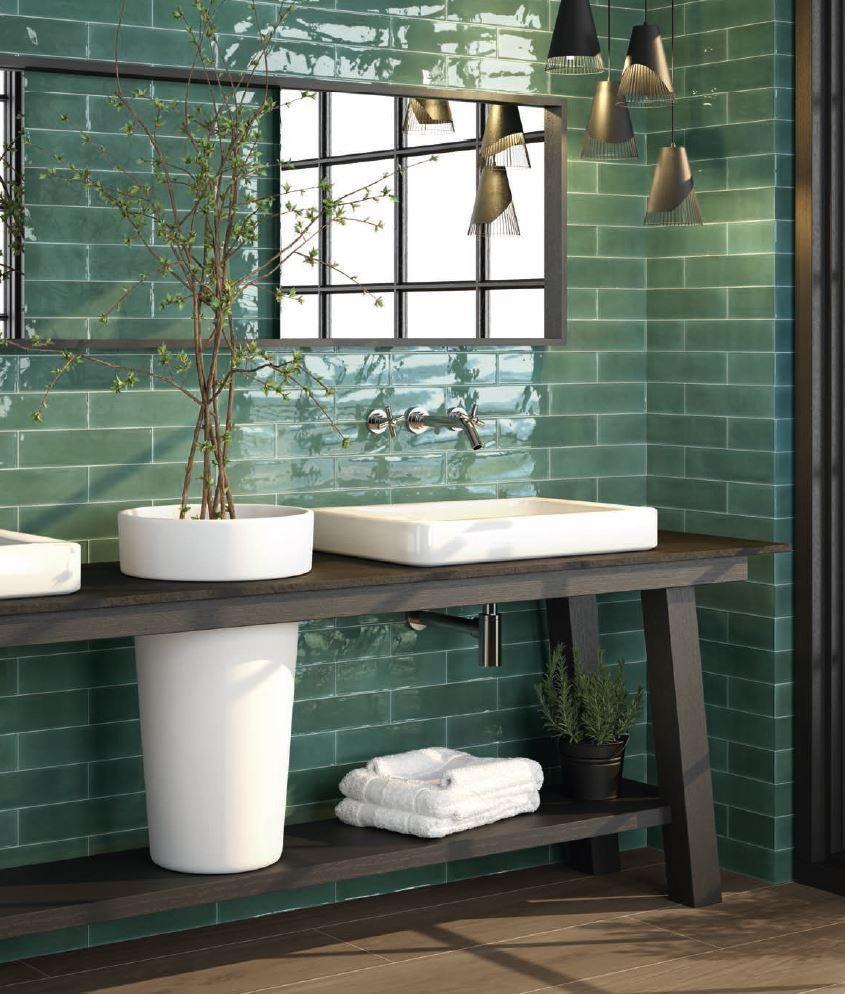Modernes Badezimmer Großflächiger Trend Fugenlose Bäder 2018: Wandfliese Cifre Opal Emerald Grün Riemchen 7,5 X 30 Trend