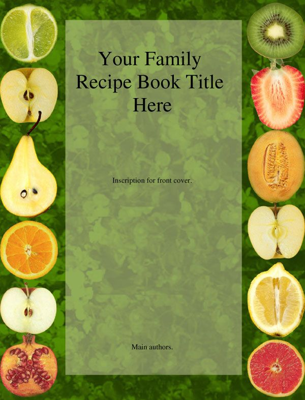 Recipe book cover templates our family cookbook in memory for Cookbook covers template