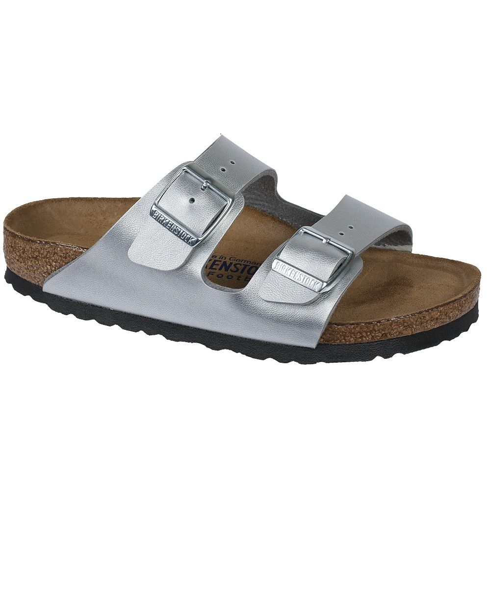c789397bf423b4 Arizona Birkenstock Sandal. Silver Birko-Flor straps with a Soft Footbed.  Silver buckles. Classic Birkenstock comfort with a little cushion! Causal  Slides.