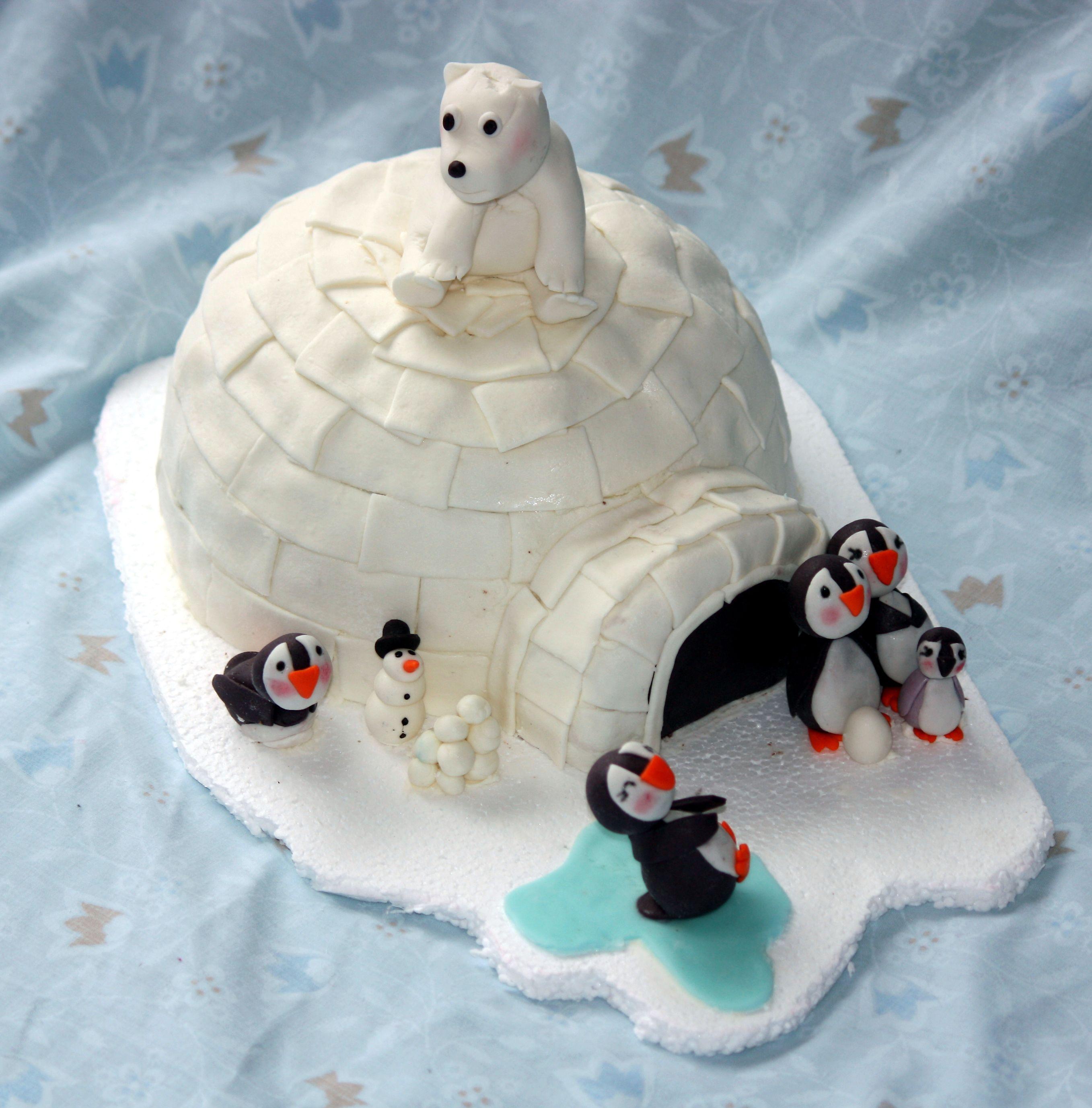 Igloo Cake With Polar Bear And Penguins Cakes