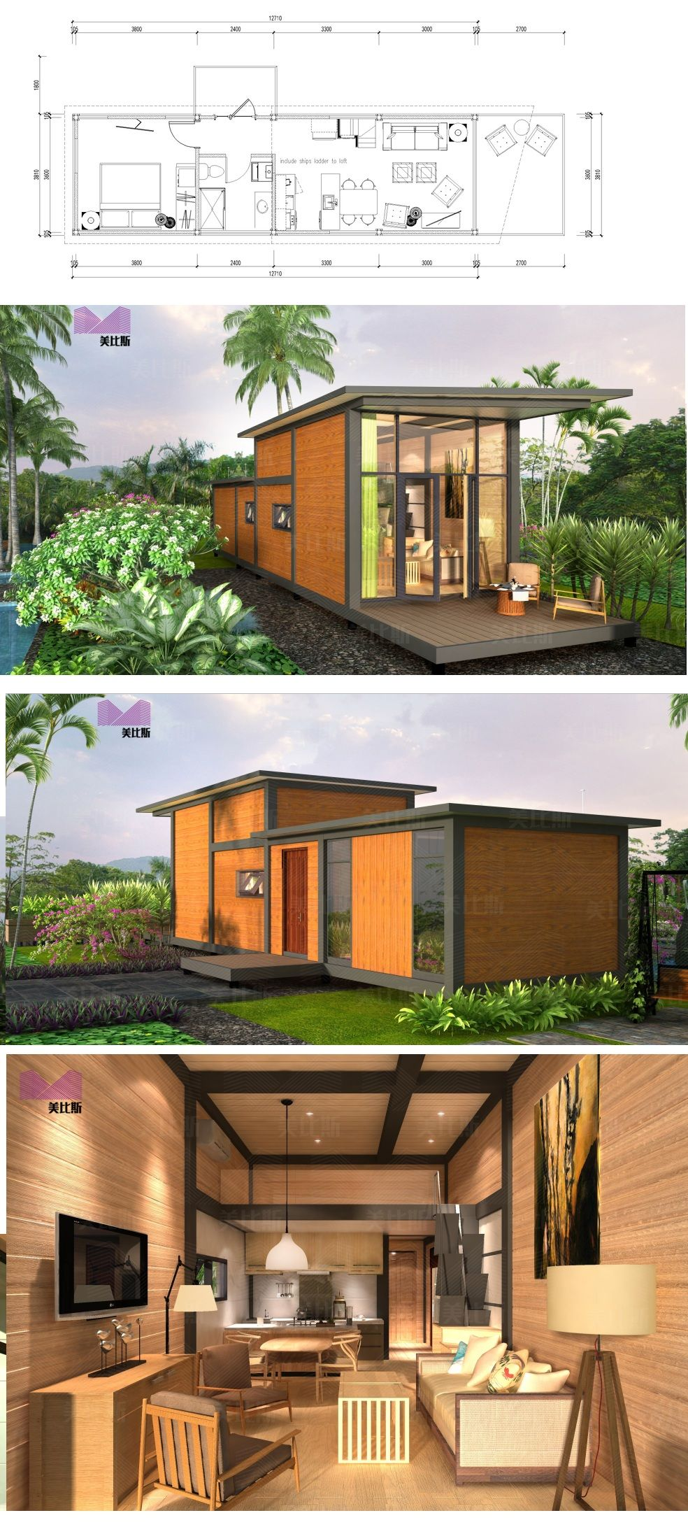 Container Aménagé Studio Prix made in china two bedroom prefabricated house villa germany