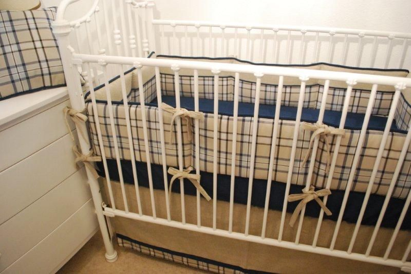Navy Tan Plaid Crib Bedding With A Navy Crib Sheet Baby