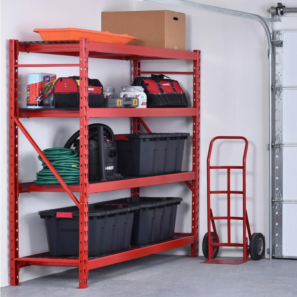 Husky 77 In W X 78 In H X 24 In D 4 Shelf Welded Steel Garage Storage Shelving Unit With Wire Deck In Red Erz782478w4r Garage Storage Garage Storage Shelves Storage Shelves