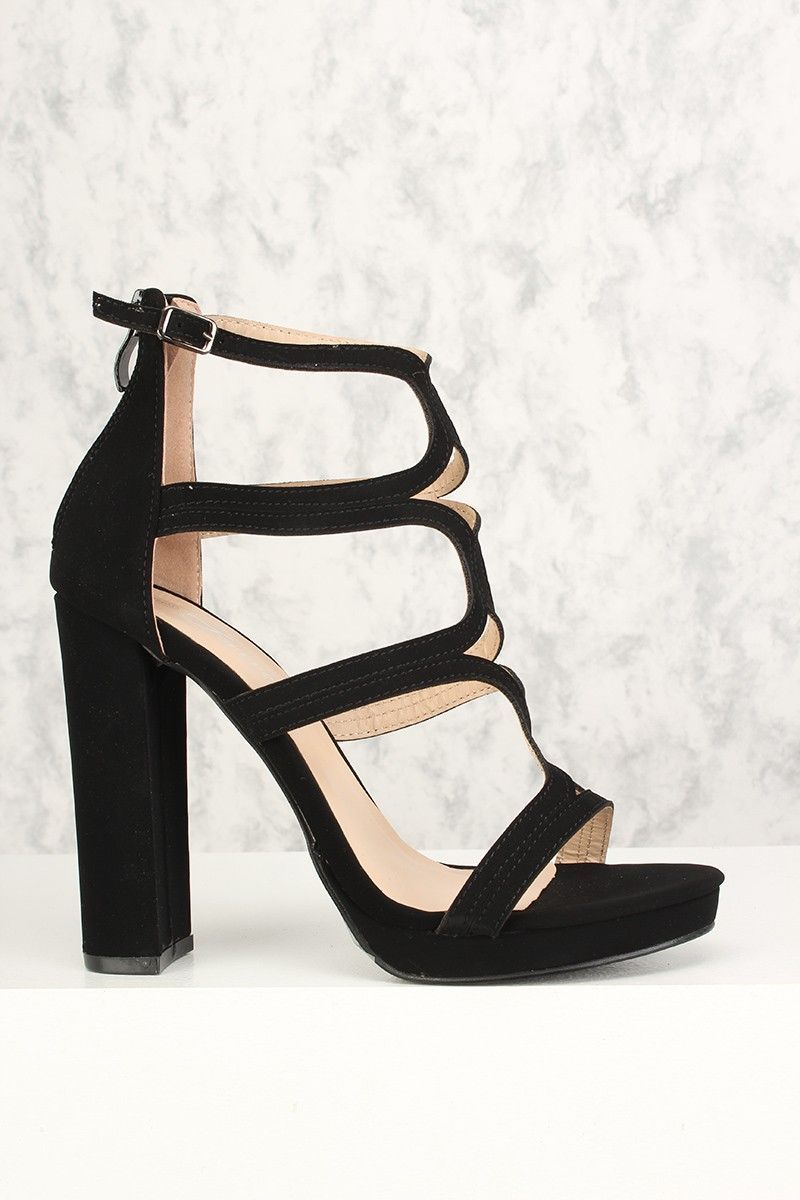03454df54923 Buy Sexy Black Strappy Platform Pump Chunky High Heels Metallic Faux  Leather with cheap price and
