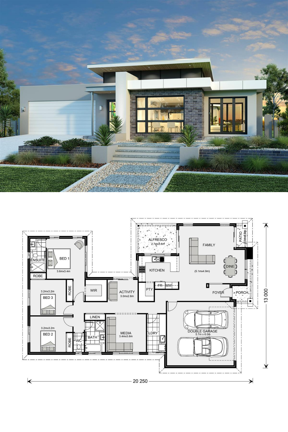 Splendid Three Bedroom Modern House Design Em 2021 Plantas De Casas Projectos De Casas Projetos De Casas Terreas