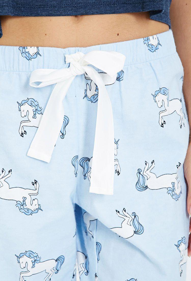 Unicorn Print Flannel PJ Pants / $9.90 / Size: Medium / forever21.com
