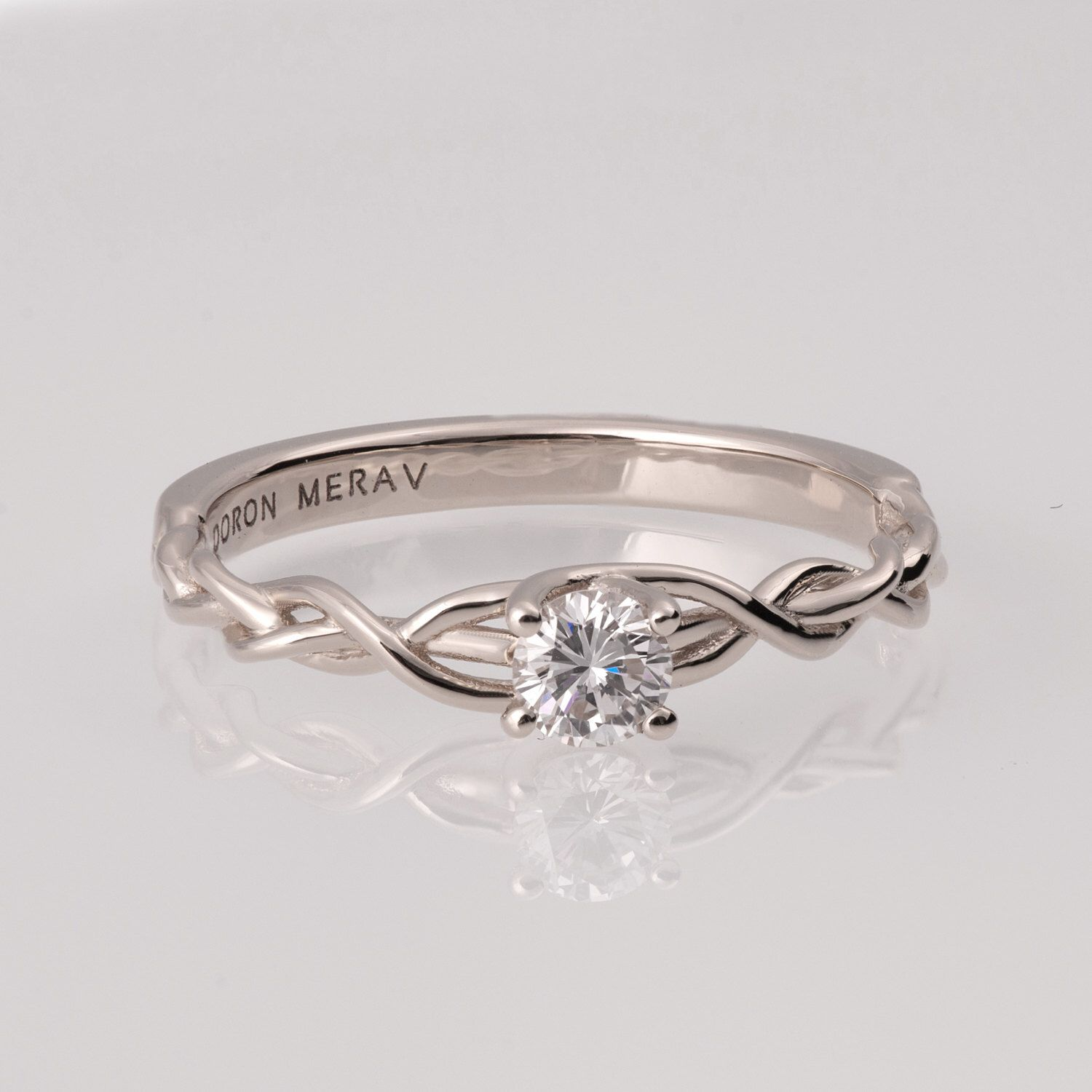Braided Engagement Ring White Gold and Diamond engagement ring