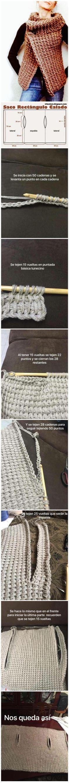 huge tunisian stitch vest