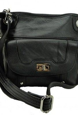 Concealed Carry Cross Body Leather Gun Purse with Slash Resistant Strap,...