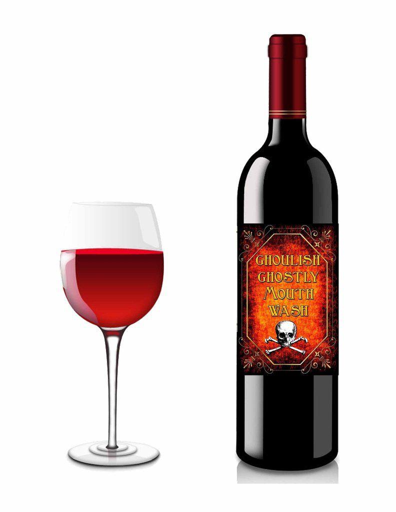 Halloween Burnt Flames Ghostly Mouthwash Liquor Or Wine Bottle Label 4 Instant Download Wine Bottle Labels Wine Bottle Bottle Labels