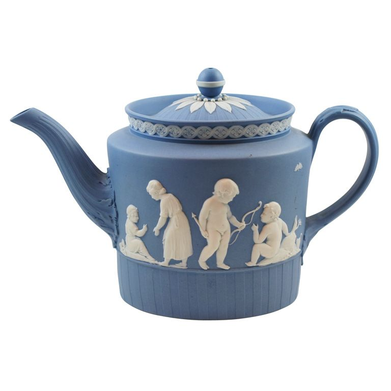 Wedgwood Blue & White Jasper Teapot  England  circa 1790  A rare and fine Wedgwood blue and white jasper teapot decorated with Lady Templetown designs, upper case mark.