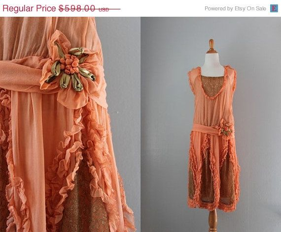 Holiday Sale 1920s Dress / 20s Pink Silk and Gold by HolliePoint, remembering those halcyon days....