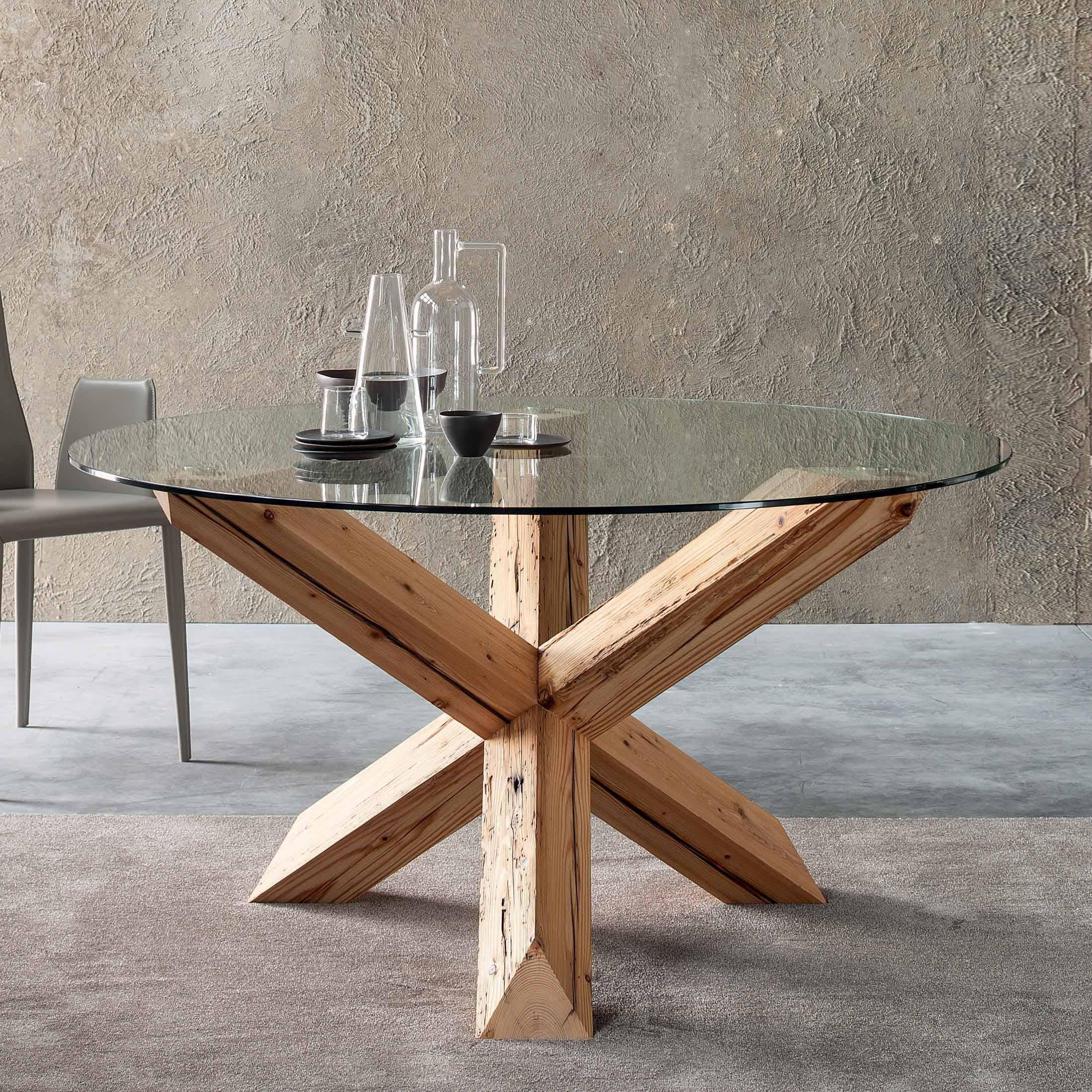 691755972 Handmade of natural wooden aged fir base table and glass top Ø 120 or at My  Italian Living Ltd