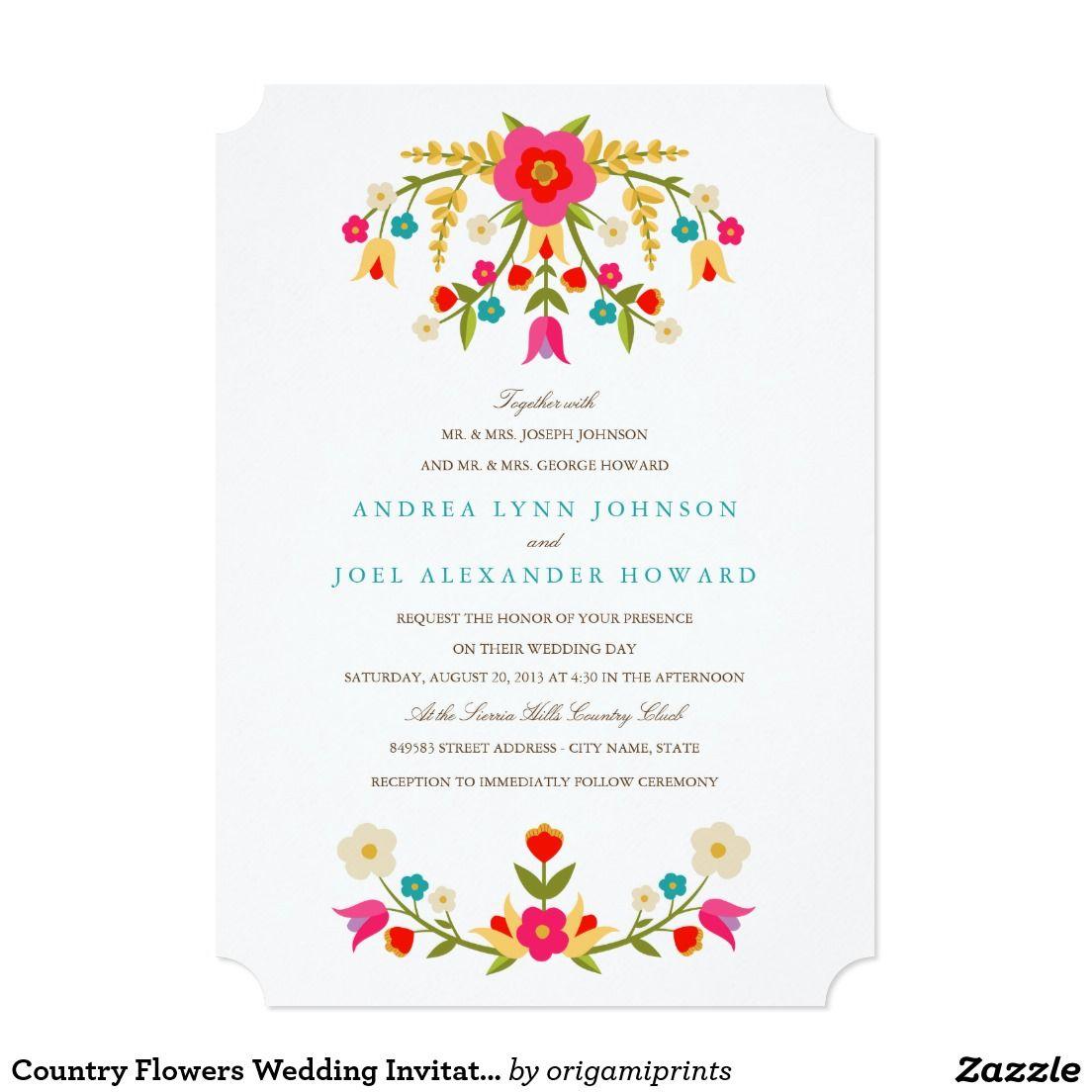Country Flowers Wedding Invitation