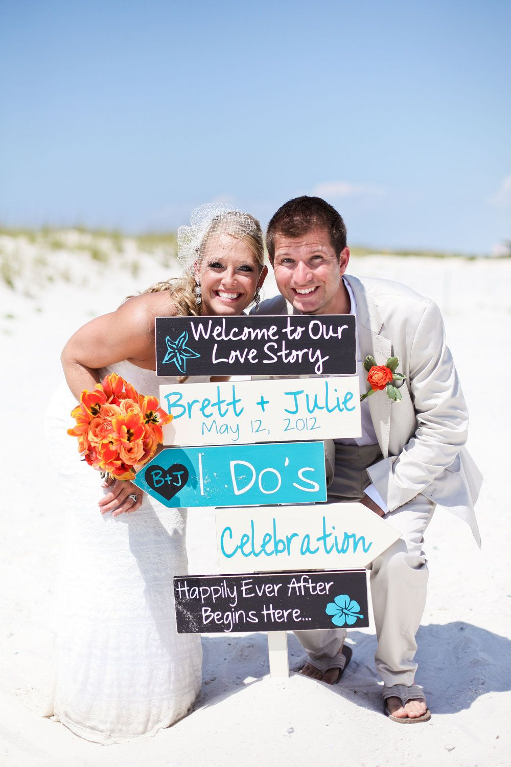 Beach Wedding Signs Five Customized Directional With Arrows Ceremony I Dos