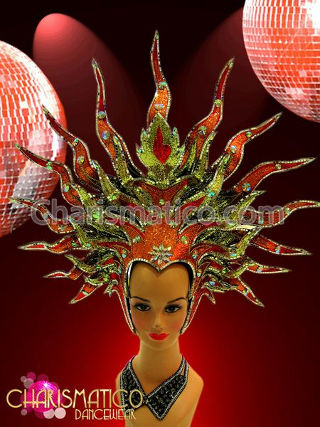 and Red Sun Goddess Themed Star Burst Headdress Orange CHARISMATICO Gold