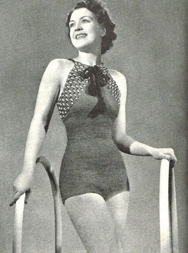 Vintage Crochet Pattern 1930s Ladies Elegant Swimsuitswimming