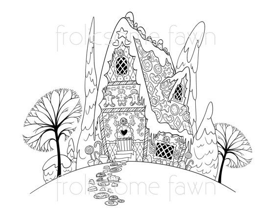 Gingerbread House Coloring Page For Children And Adults Christmas