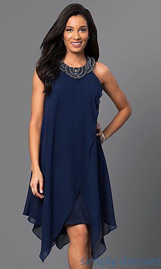 Sleeveless Navy Blue Short Handkerchief Dress Fashionista