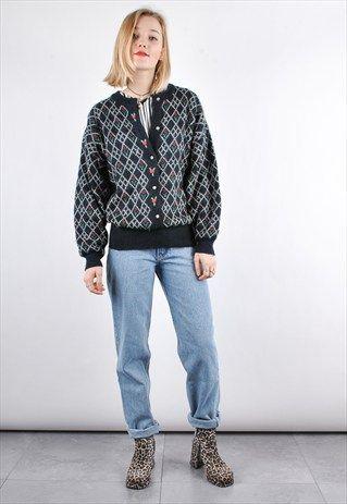 80s Black Vintage Scandi Knit Pattern Jumper