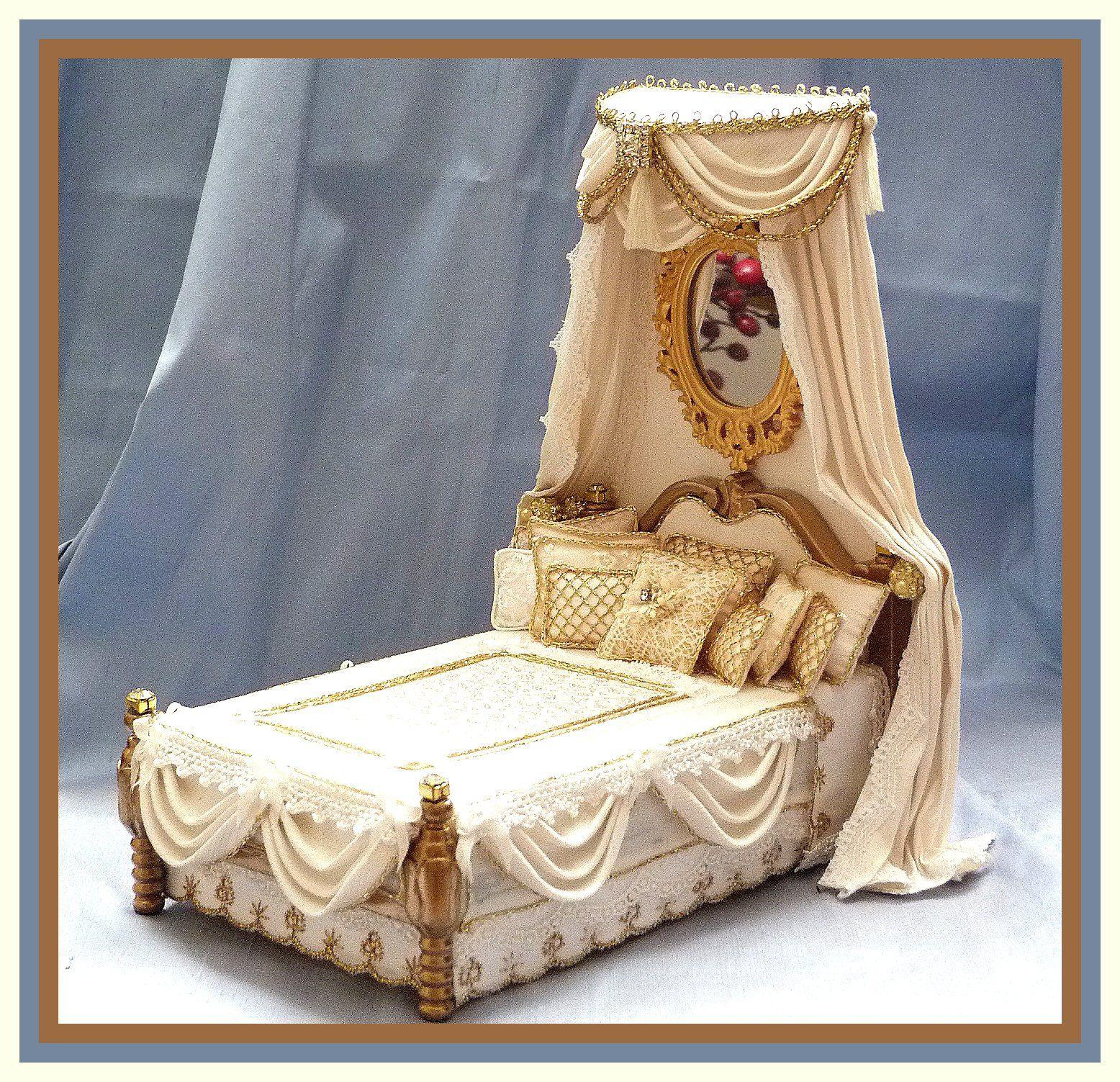 1/12 scale Miniature Dollhouse Silk Canopy Bed & 1/12 scale Miniature Dollhouse Silk Canopy Bed | tiny exquisite ...