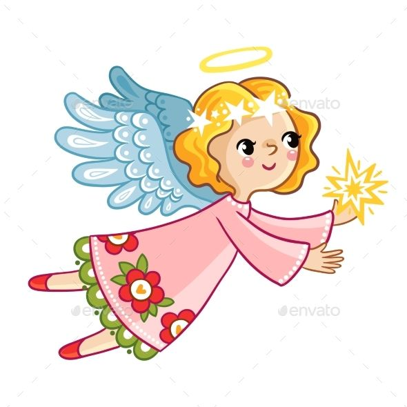 Flying Angel With Wings Holding Star Angel Vector Angel Illustration Drawing For Kids
