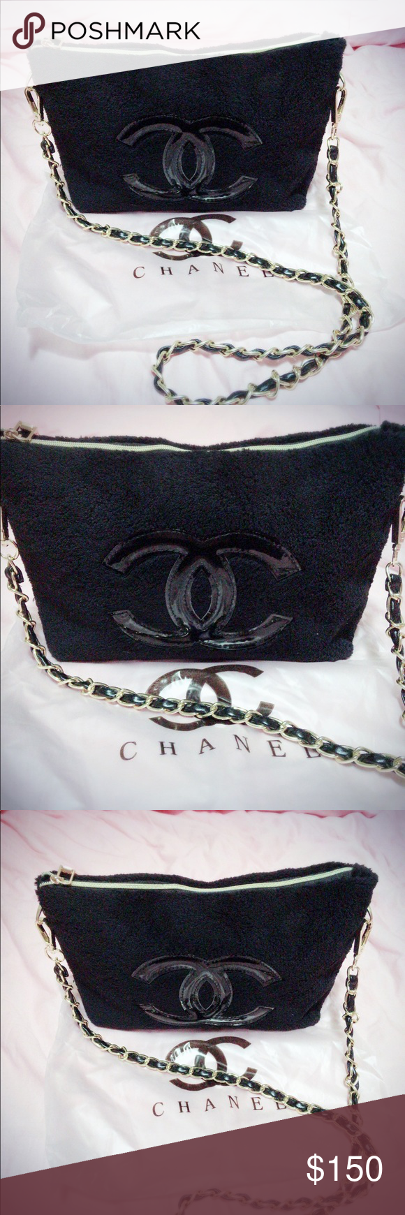 c114b2e180b5 Authentic CHANEL beauty VIP gift bag CHANEL Black Velvet Makeup Bag with  Gold Detachable Chain Cosmetic