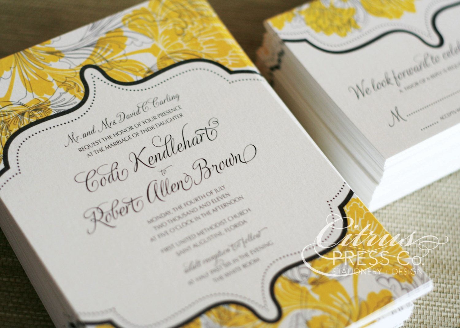 Vintage Floral Damask Wedding Invitation available as DIY PDF Printable