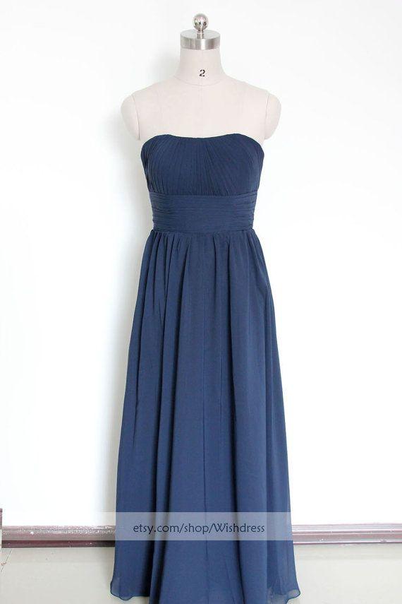 Strapless Bridesmaid Dress /Dark Navy Bridesmaid by Wishdress